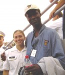 Class of 1978 graduate Darryl Mobley with plebe Heather DiSilvio 9-27-03
